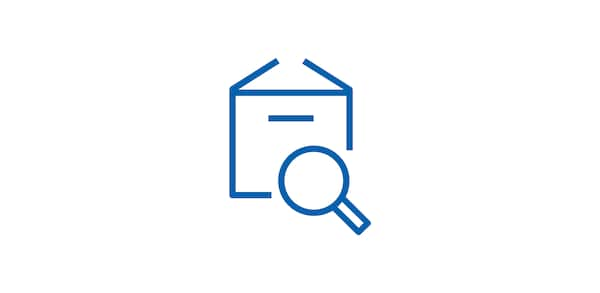 Icon of package with magnifying glass