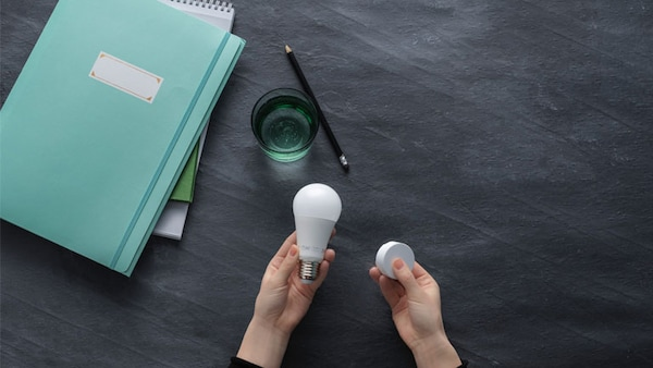 A woman holding a bulb with smart lighting remote on a desk with a green notebook