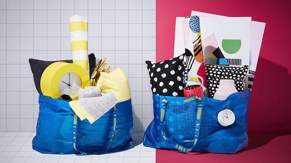 Прочная многоразовая синяя сумка ФРАКТА пригодится для хранения вещей и во время уборки