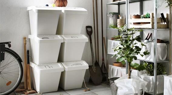 Bac de tri des déchets avec couvercle, blanc, 16gallons (60L)
