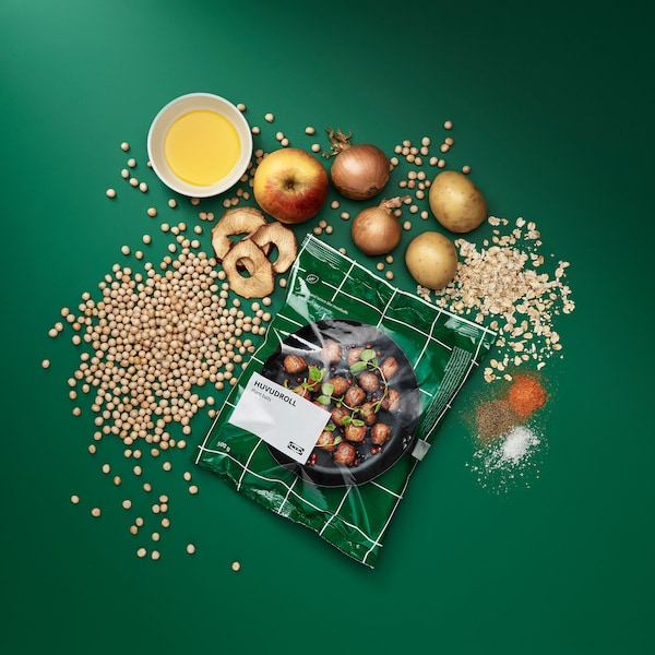 Bag of plant balls with ingredients surrounding it linking to the plant ball announcement