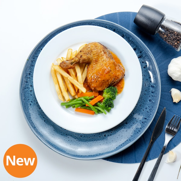 Baked Chicken Leg with Peri-peri Sauce, Fries and Mixed Vegetables