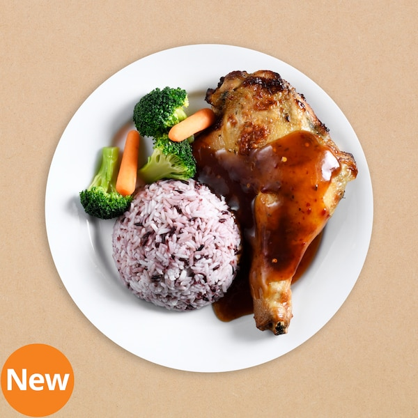 Baked chicken leg with rice berry and tamarind sauce