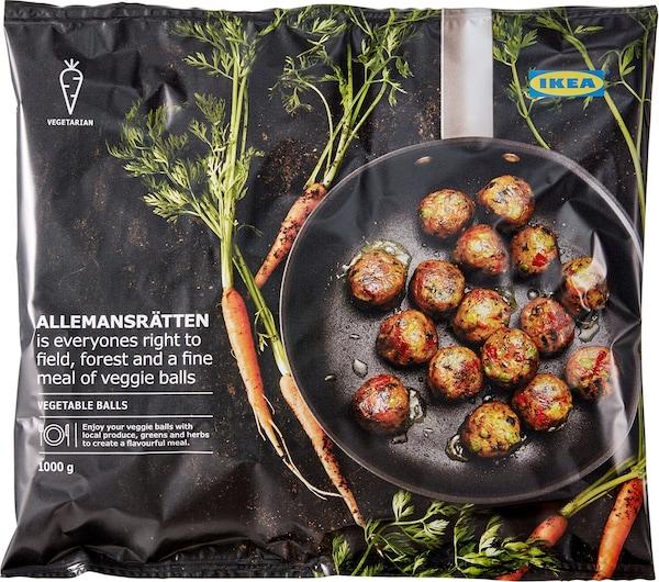 Balení zeleninových kuliček IKEA ALLEMANSRÄTTEN, na kterém je na pánev a mrkev.