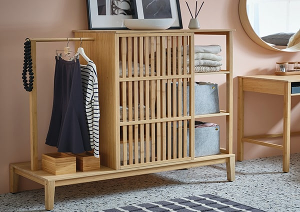 Bamboo storage with sliding doors for your clothes and belongings as well as a statement piece in your home.