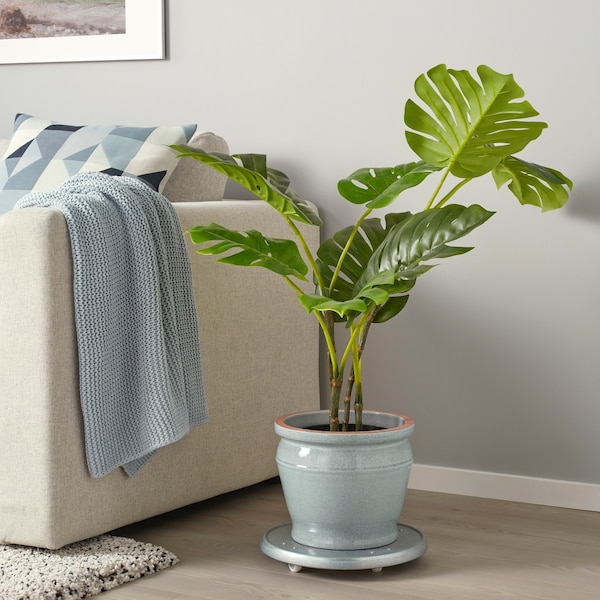 barmalla sierpot blauw/groen met plant erin