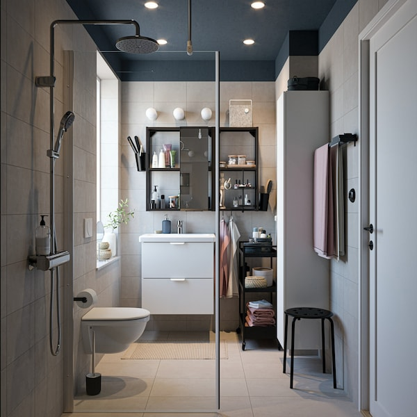 Bathroom accessories and storage for small spaces.