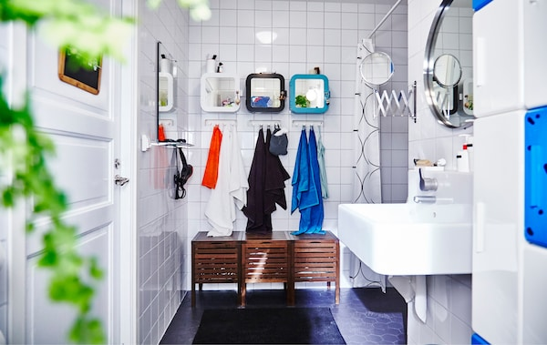 Bathroom with IKEA storage and accessories.
