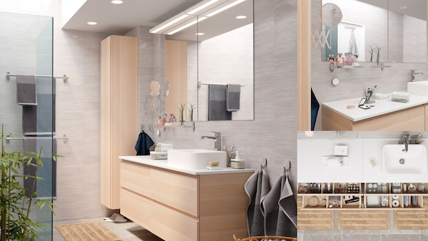 Bathroom with two mirrors, one sink and storage units with diverse toiletry articles plus wall lighting and High cabinet.