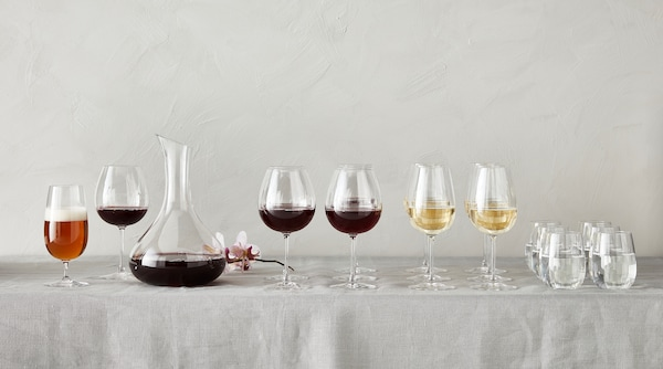 Assortment of glassware arranged on a table