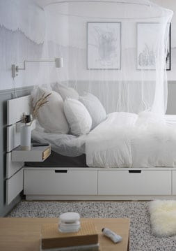 Bed with headboard and storage, white, Queen (160x200 cm)