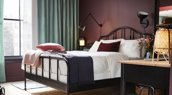 beddengoed kussens gordijnen plaids ikea slaapkamer