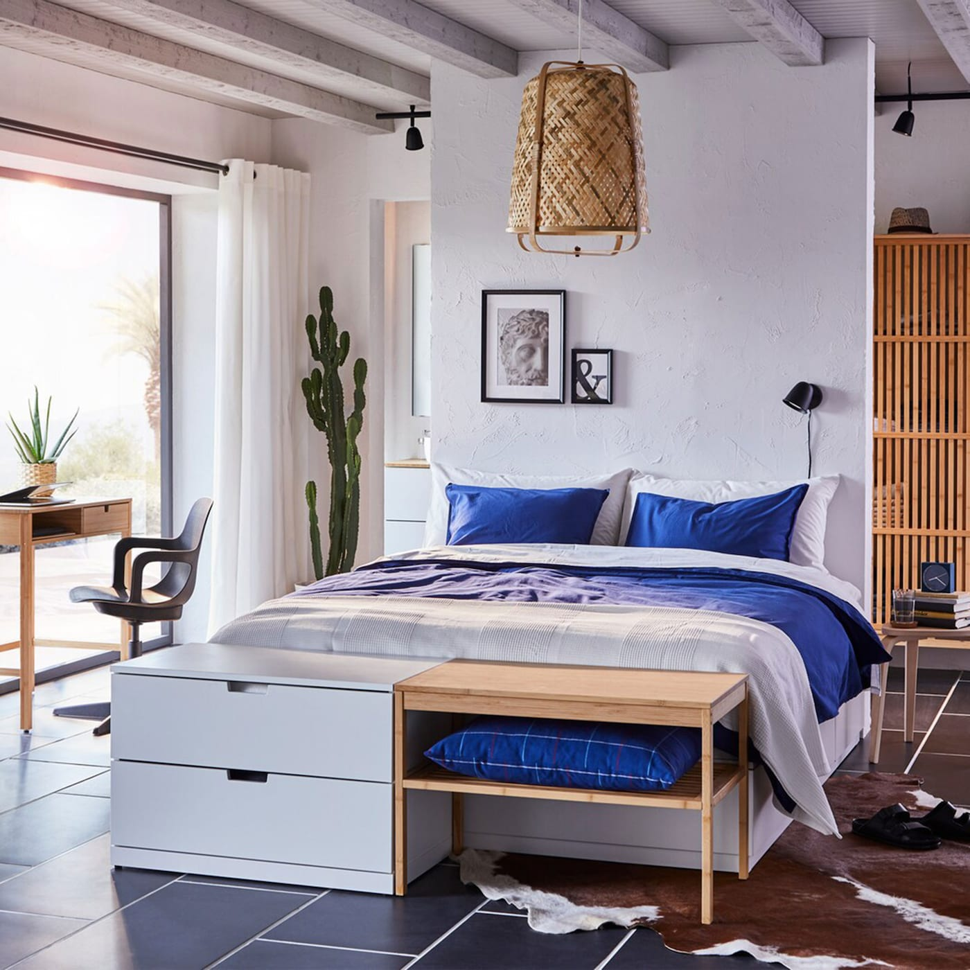 A bedroom with beautiful bamboo storage - IKEA
