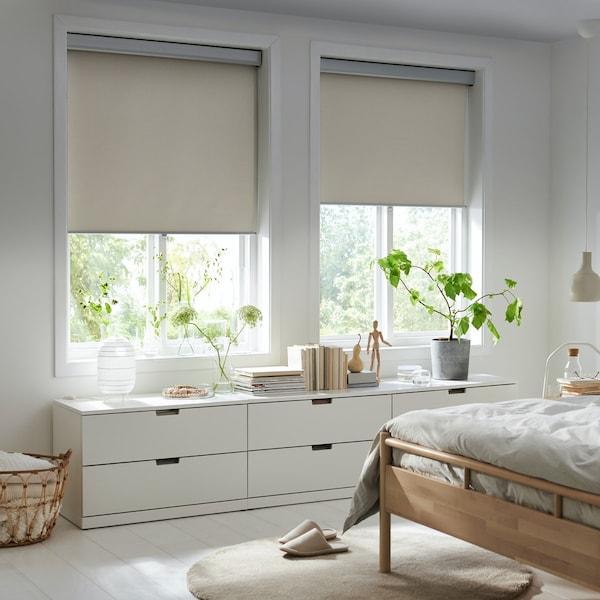 Bedroom with blinds halfway down