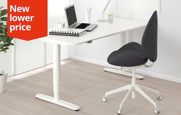 BEKANT Desk sit/stand, white, 160x80 cm