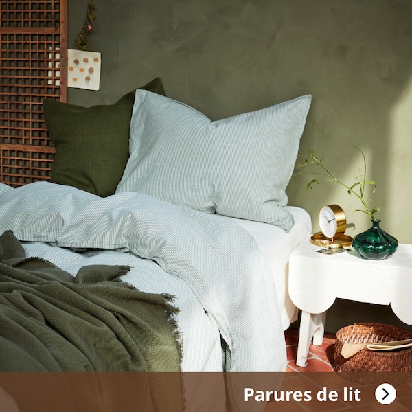 BERGPALM Housse de couette et 2 taies, ver, rayure