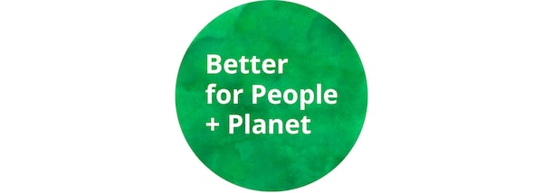 """""""Better for People + Planet"""" logotipo berdea."""