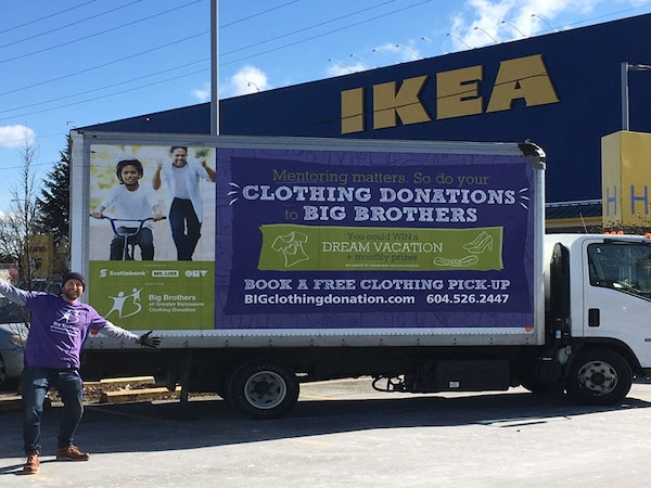 Big Brothers of Greater Vancouver representative and truck outside of IKEA Richmond