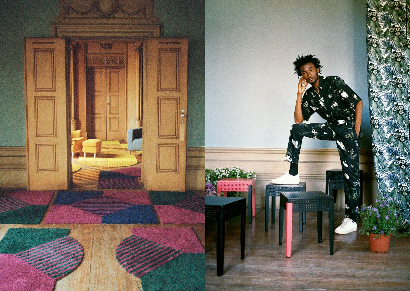 Big room with SJÄLVSTÄNDIG mix rugs in bold colours, plus a young man and six small square tables in metal mesh.