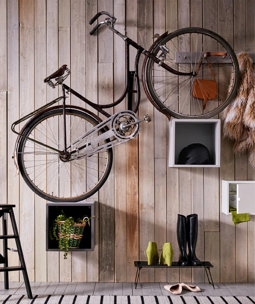 Bike on cabinet