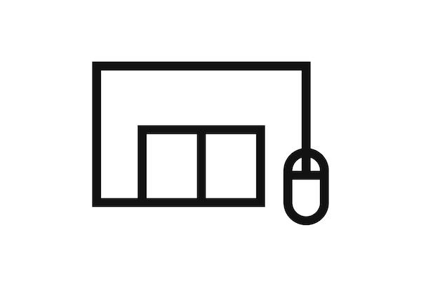 Bilde av et svart piktogram av et IKEA varehus med en datamus koblet til.