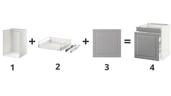 Bilde av hvilke deler man trenger for å lage et METOD-skap.