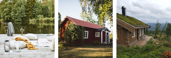 Bildet av en brygge, en rød hytte og en nytte på fjellet.