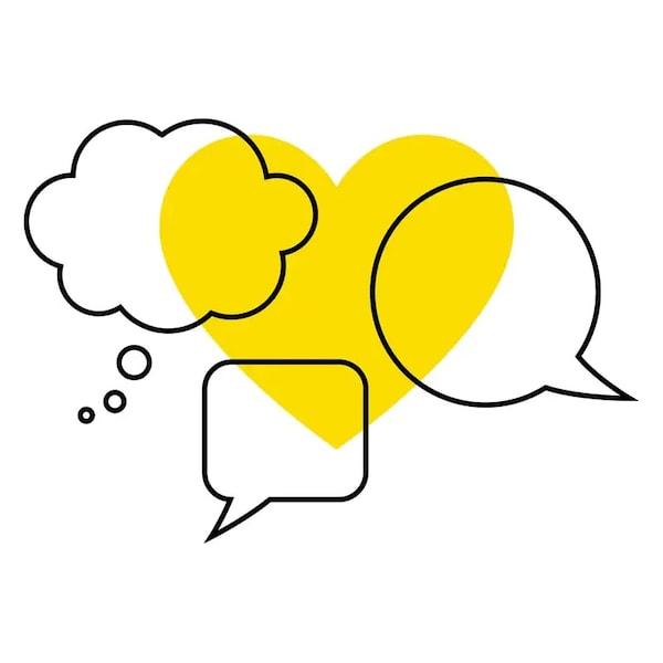 Bílé pozadí se třemi řečnickými bublinami na žlutém srdci.