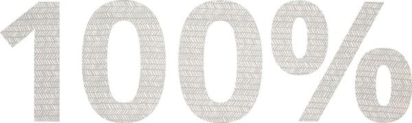 Billede af tallet 100% skrevet med stof.