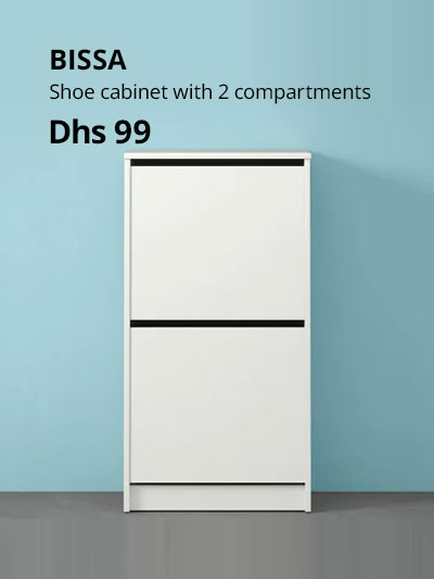bissa shoe cabinet with 2 compartments white