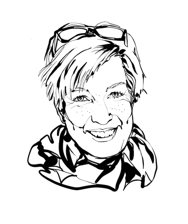 Black-and-white, face-focused sketch of IKEA interior designer Mia Gustafsson: smile, short hair, glasses pushed up, scarf.