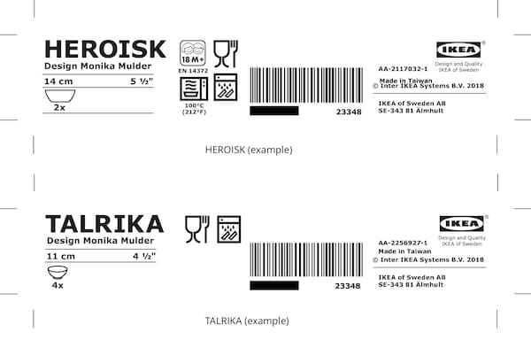 Black and white packaging labels for HEROISK and TALRIKA products showing the IKEA logo and other product information.