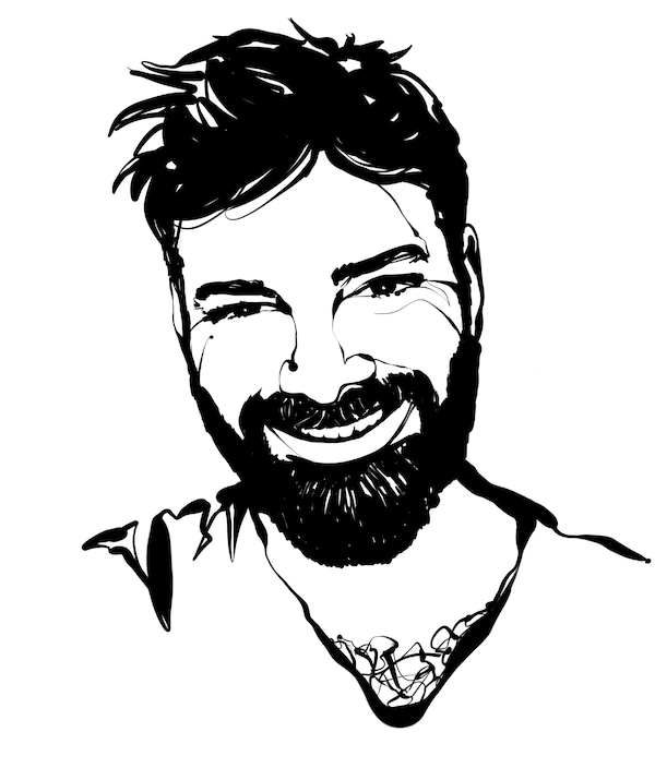 Black-and-white sketch showing head and shoulders of a man in a V-neck T-shirt: short hair, full beard, big smile.