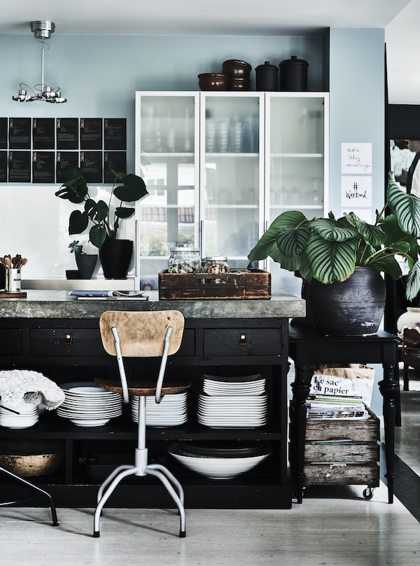 Black kitchen island with drawers and shelves filled with tableware, and in the back, high cabinets with frosted glass doors.