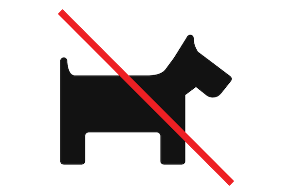black symbol of a dog with a red line cross through it