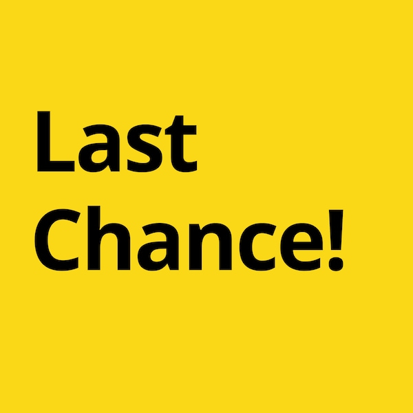 "Black text saying ""Last Chance!"" against a yellow background, linking to the Last Chance items page."