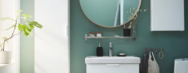 black white bathroom IKEA