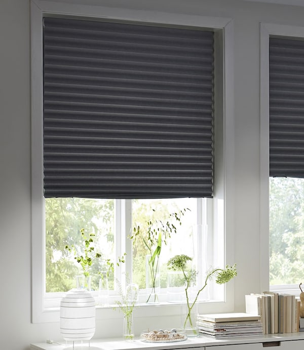 "Blackout pleated blind, dark gray, 39 ¼x74 ¾ "" (100x190 cm)"