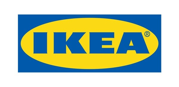 "Blue and yellow IKEA logo linking to News article ""IKEA US stores to continue mask mandate and social distancing measures""."