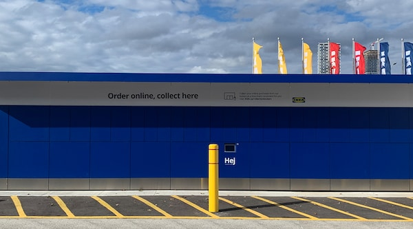 Blue click & collect lockers at an IKEA store