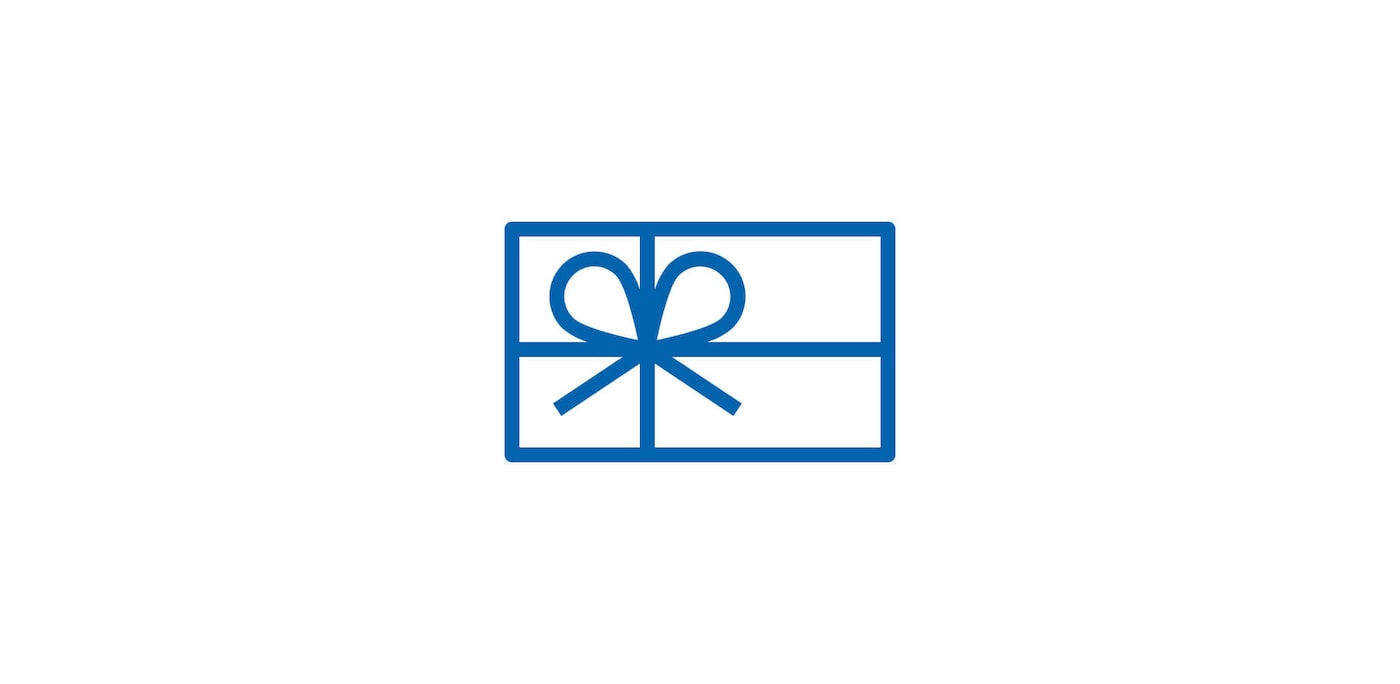 Blue icon of gift card
