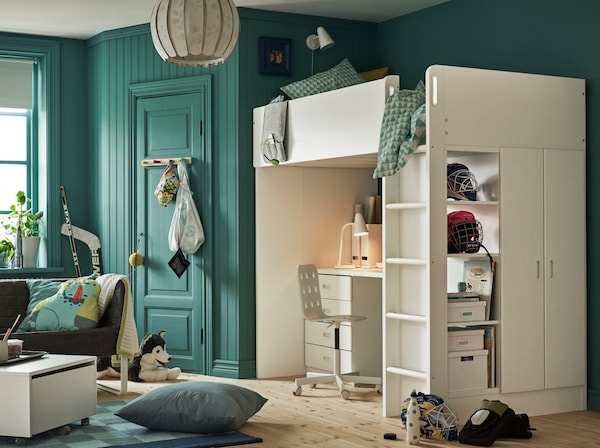 Blue teenager room with high sleeper and storage