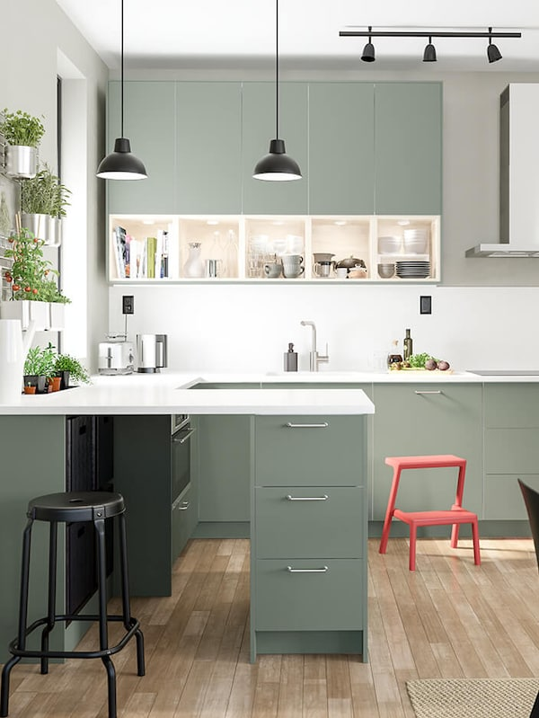 BODARP grey-green kitchen