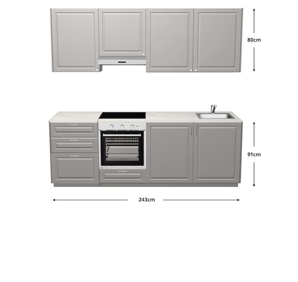 Bodbyn kitchen with dimensions