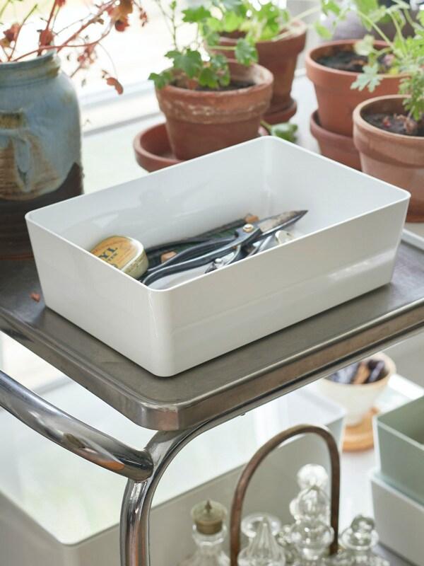 Boîte avec couvercle KUGGIS, blanc