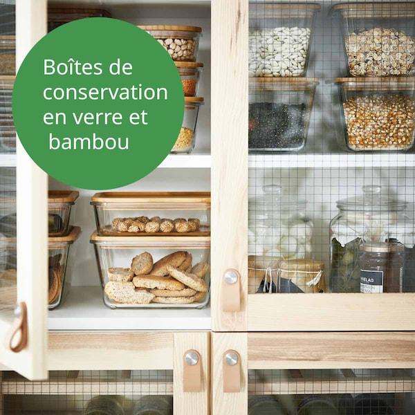 Boites IKEA 365+ avec couvercle bambou dans un meuble
