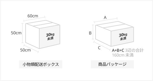 小物類配送ボックス:50cm x 50cm x 60 cm 商品パッケージ(イケアストアで配送をご依頼される場合のみ):3辺の合計 160cm未満  重量: 30kg未満