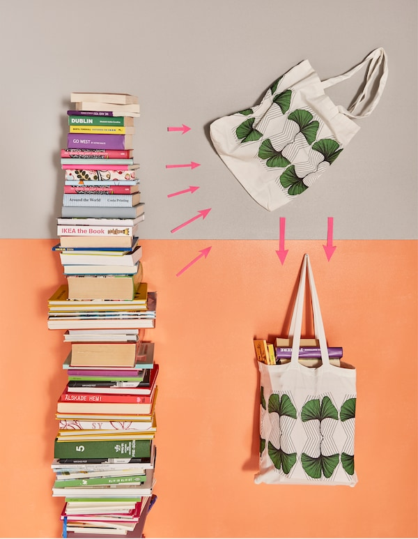 Books being packed into a fabric bag.