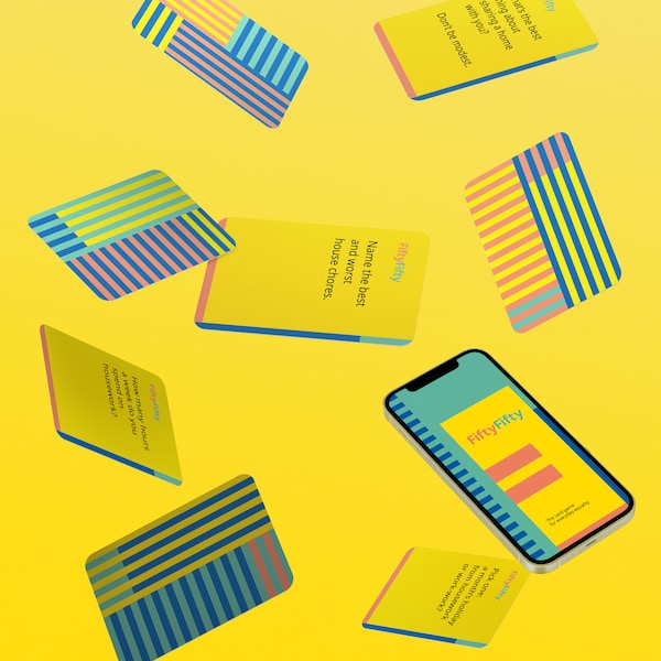 bright coloured game cards on yellow back ground #InternationalWomensDay