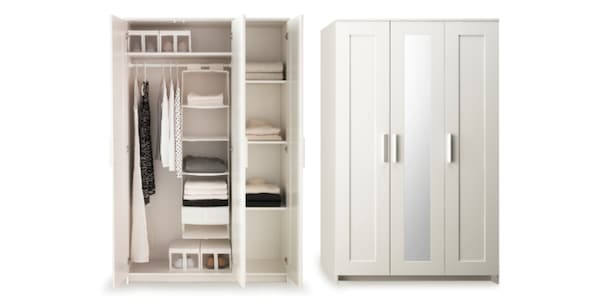 Brimnes, Armario con 3 puertas, blanco117x190 cm